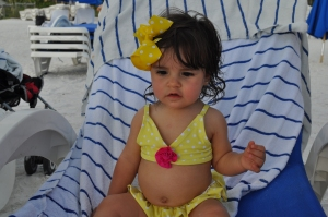 11 months old at the Beach experiencing our Family Vacation spot since I was your age