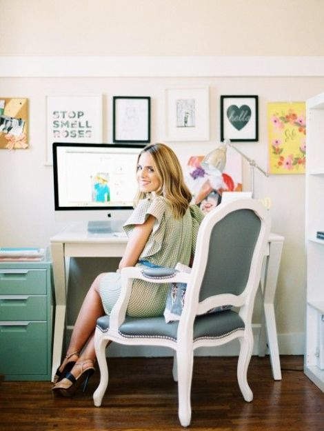 Love the colors, simplicity and gallery wall. Oh yeah, and that chair too