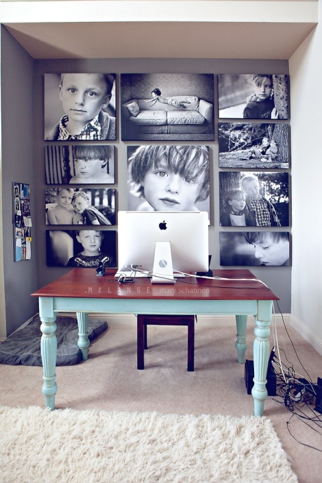 Love the wall of canvas photos of favorite people and places.
