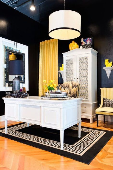 A Girl can dream for this space, can't she? But I'd change the yellow to pink and add some mirrored furniture pieces.